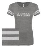ENZA Ladies Dark Heather/White Vintage Triblend Football Tee-Dassault Falcon