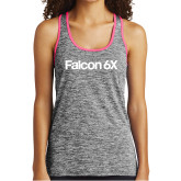 Ladies Black/Neon Pink Heather Performance Tank-Falcon 6X