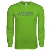 Lime Green Long Sleeve T Shirt-Dassault Falcon