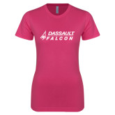Ladies SoftStyle Junior Fitted Fuchsia Tee-Dassault Falcon