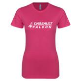 Ladies SoftStyle Junior Fitted Fuchsia Tee-Dassault Falcon