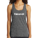 Ladies Grey/Black Heather Performance Tank-Falcon 6X