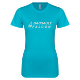 Next Level Ladies SoftStyle Junior Fitted Ice Blue Tee-Dassault Falcon