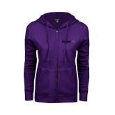 ENZA Ladies Purple Fleece Full Zip Hoodie-Falcon 7X