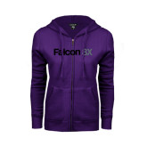 ENZA Ladies Purple Fleece Full Zip Hoodie-Falcon 8X