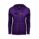 ENZA Ladies Purple Fleece Full Zip Hoodie-Falcon 2000LXS