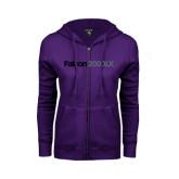 ENZA Ladies Purple Fleece Full Zip Hoodie-Falcon 2000LX