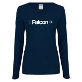 Ladies Navy Long Sleeve V Neck Tee-Falcon