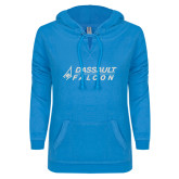 ENZA Ladies Pacific Blue V Notch Raw Edge Fleece Hoodie-Dassault Falcon