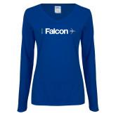 Ladies Royal Long Sleeve V Neck Tee-Falcon