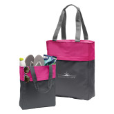 Charcoal/Tropical Pink Colorblock Tote-Craft w/ Tagline
