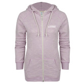 ENZA Ladies Hot Violet Marled Full Zip Hoodie-Dassault Falcon