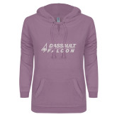 ENZA Ladies Hot Violet V Notch Raw Edge Fleece Hoodie-Dassault Falcon