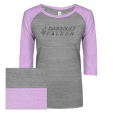 ENZA Ladies Athletic Heather/Violet Vintage Baseball Tee-Dassault Falcon