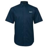 Navy Twill Button Down Short Sleeve-Falcon
