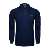 Navy Long Sleeve Polo-Dassault Falcon