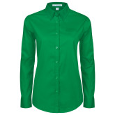 Ladies Kelly Green Twill Button Down Long Sleeve-Dassault Falcon