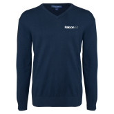 Classic Mens V Neck Navy Sweater-Falcon 6X