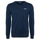 Classic Mens V Neck Navy Sweater-Falcon