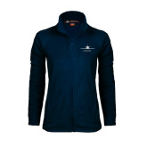 Ladies Fleece Full Zip Navy Jacket-Twinjet Craft Stacked - Falcon 2000, Falcon 2000EX
