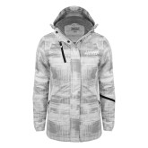 Ladies White Brushstroke Print Insulated Jacket-Dassault Falcon