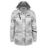 Ladies White Brushstroke Print Insulated Jacket-Falcon