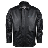 Black Leather Bomber Jacket-Dassault Falcon