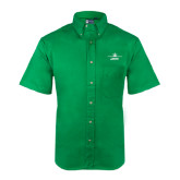 Kelly Green Twill Button Down Short Sleeve-Trijet Craft Stacked - Falcon 900, Falcon 900EX, Falcon 50EX