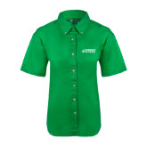 Ladies Kelly Green Twill Button Up Short Sleeve-Dassault Falcon