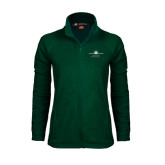 Ladies Fleece Full Zip Dark Green Jacket-Twinjet Craft Stacked - Falcon 2000, Falcon 2000EX