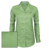 Ladies Red House Green Herringbone Non Iron Long Sleeve Shirt-Dassault Falcon
