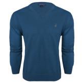 Classic Mens V Neck Moroccan Blue Sweater-