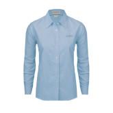 Ladies Light Blue Oxford Shirt-Dassault Falcon