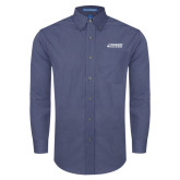 Mens Deep Blue Crosshatch Poplin Long Sleeve Shirt-Dassault Falcon