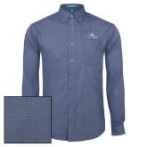 Mens Deep Blue Crosshatch Poplin Long Sleeve Shirt-Dassault Falcon