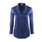 Ladies Red House Deep Blue Herringbone Non Iron Long Sleeve Shirt-Dassault Falcon