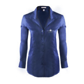 Ladies Red House Deep Blue Herringbone Non Iron Long Sleeve Shirt-Trijet Craft Stacked - Falcon 900, Falcon 900EX, Falcon 50EX
