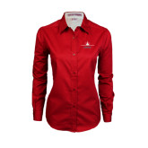 Ladies Red Twill Button Down Long Sleeve-Trijet Craft Stacked - Falcon 900, Falcon 900EX, Falcon 50EX