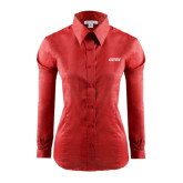 Ladies Red House Red Long Sleeve Shirt-Dassault Falcon
