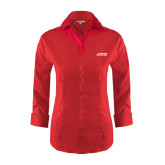 Ladies Red House Red 3/4 Sleeve Shirt-Dassault Falcon