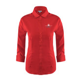 Ladies Red House Red 3/4 Sleeve Shirt-Trijet Craft Stacked - Falcon 900, Falcon 900EX, Falcon 50EX