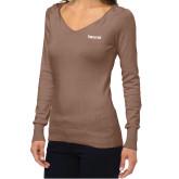 Ladies Fuse Mocha V Neck Sweater-Falcon 6X