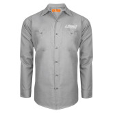 Red Kap Light Grey Long Sleeve Industrial Work Shirt-Dassault Falcon