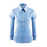 Ladies Red House Light Blue Long Sleeve Shirt-Dassault Falcon