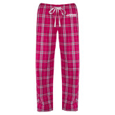Ladies Dark Fuchsia/White Flannel Pajama Pant-Dassault Falcon