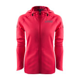 Ladies Tech Fleece Full Zip Hot Pink Hooded Jacket-Dassault Falcon