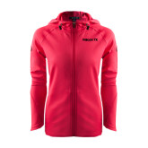 Ladies Tech Fleece Full Zip Hot Pink Hooded Jacket-Falcon 7X