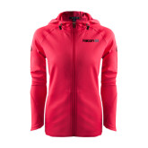 Ladies Tech Fleece Full Zip Hot Pink Hooded Jacket-Falcon 8X