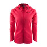 Ladies Tech Fleece Full Zip Hot Pink Hooded Jacket-Falcon 900LX