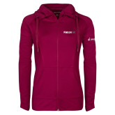 Ladies Sport Wick Stretch Full Zip Deep Berry Jacket-Falcon 6X